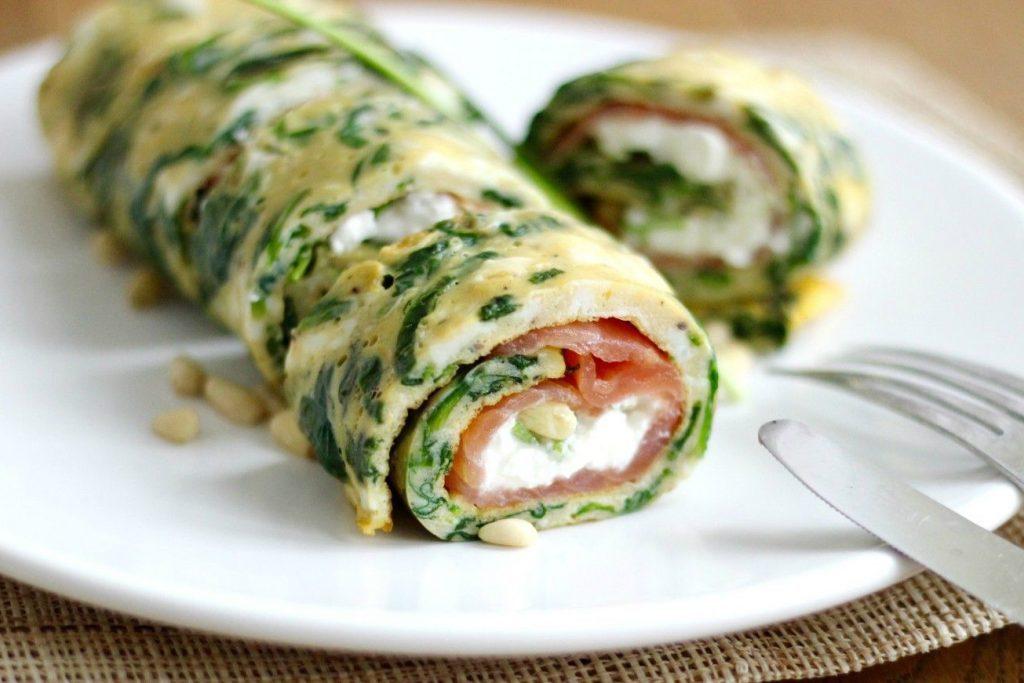 omelet zalm spinazie